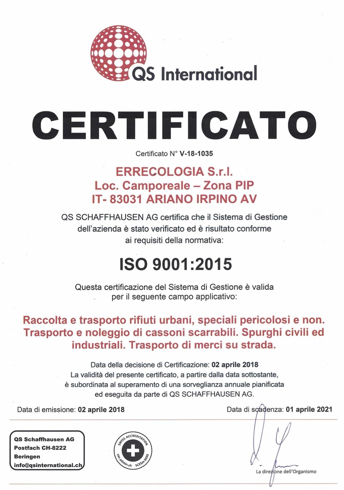 ISO 9001:2015 - Errecologia